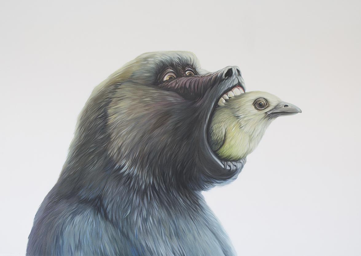 monkey painting opice gorila obraz olej na platne adam jilek umeni realismus realisticka malba galerie vystava realistic hyperreslimus